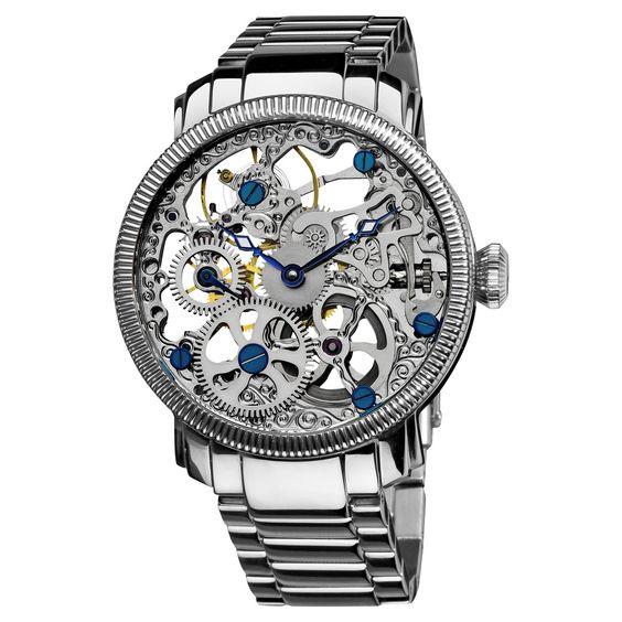 Akribos XXIV Men's Stainless Mechanical Skeleton Bracelet Watch $180