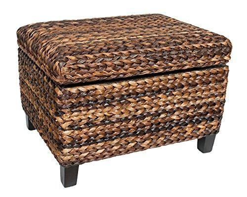 Birdrock Home Woven Seagrass Storage Ottoman With Safety Hinges