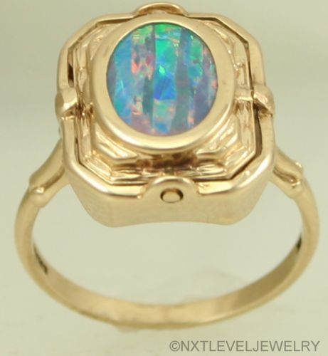 Antique Black Opal Persian Turquoise 10K Gold Cocktail Flip Reversible Ring | eBay