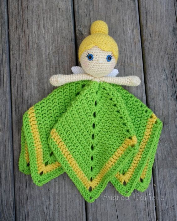 Tinker Fairy Crochet Lovey/ Security Blanket: Green, Yellow, Sparkly ...