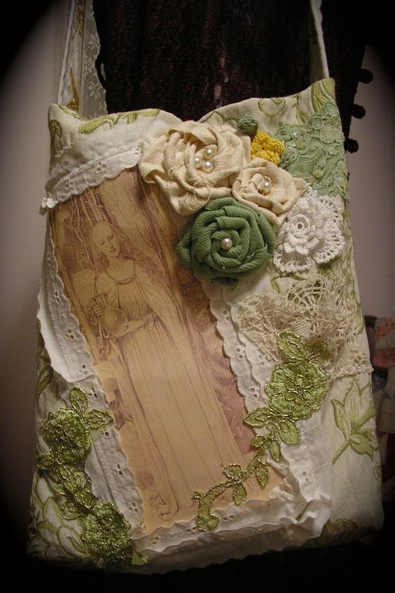 Embellished Floral Tote fabric bag handmade by TatteredDelicates, $60.00