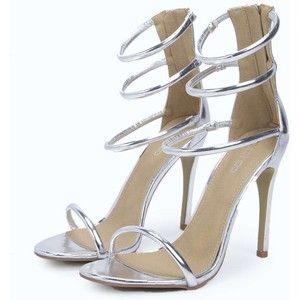 Rose Metallic Caged Two Part Heels