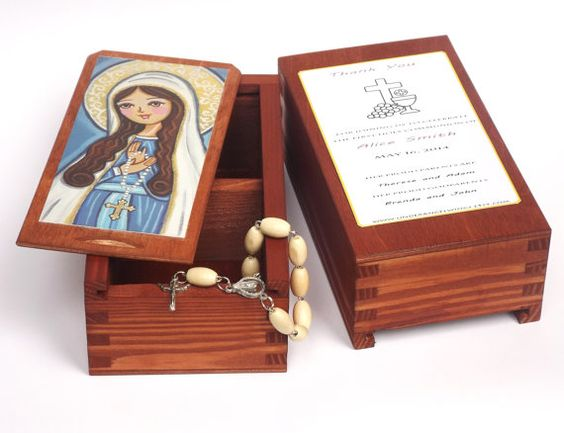 Our Lady of Rosary Virgin Mary wood jewelry by UnderAngelWings