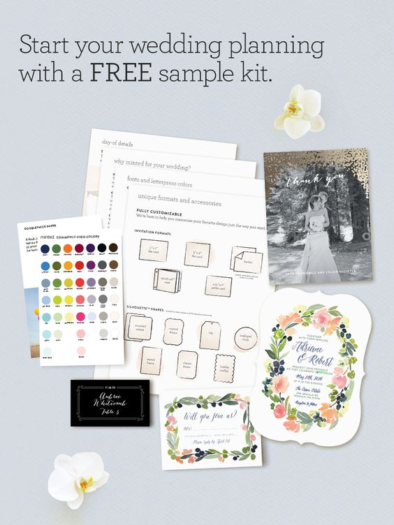 Discover your wedding style before you purchase with free samples from Minted. Order today and receive 5 unique designs plus swatches of our premium paper!