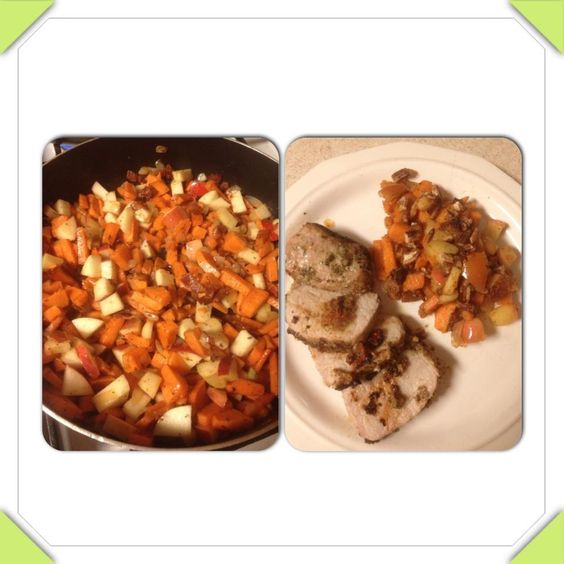 Roasted Red Pepper Marinade and a side of Sweet Potatoes with Apples ...