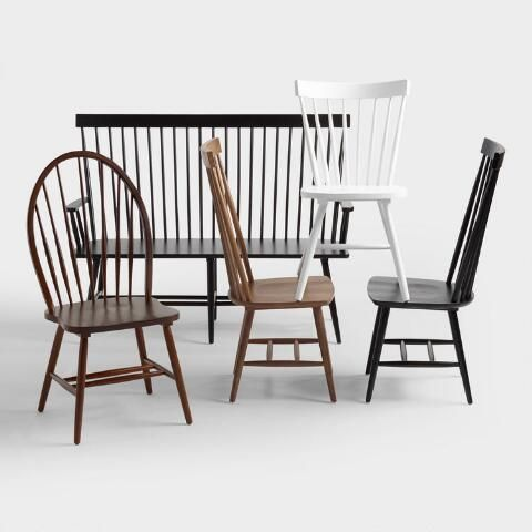 Outstanding Black Wood Kamron High Back Windsor Bench World Market Bralicious Painted Fabric Chair Ideas Braliciousco