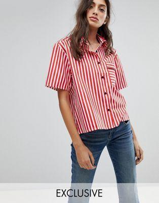 Свободная рубашка с кантом на одном кармане Reclaimed Vintage Inspired