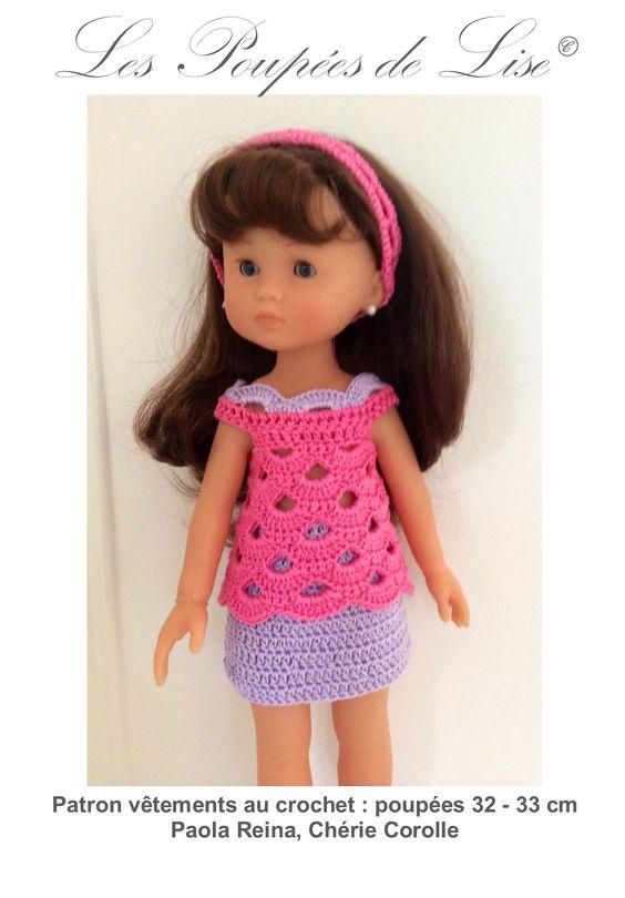 Patron vêtements au crochet : poupées 32 - 33 cm Paola Reina, Chérie Corolle Tenue Jupe, Tunique et Bandeau assorti