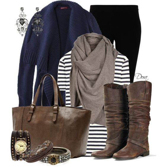 Cardigan blu, created by doradabrowska on Polyvore: