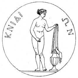 Grabado que representa una moneda de Cnido mostrando a la Afrodita de Cnido de Praxíteles