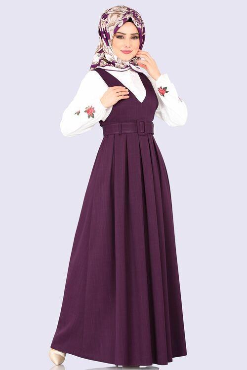 Modaselvim Elbise Pileli Kemerli Jile 607mr257 Mor Elbise Elbiseler Kiyafet