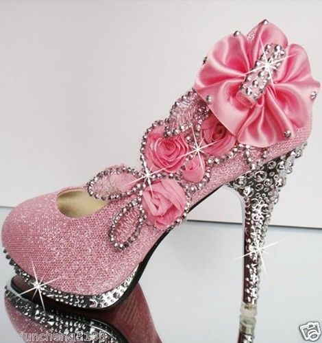 pink beautiful Vogue lace Flowers Crystal High Heels Wedding