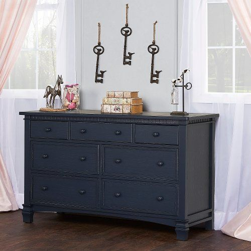 Distressed Navy Double Dresser Santa Fe Double Dresser Wooden Drawer Pulls Furniture