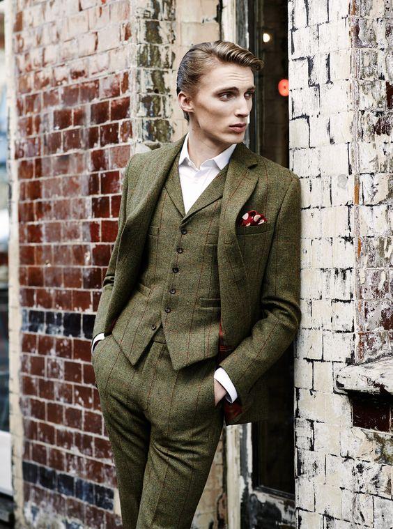 3 piece tweed suit by Tweed Addict in Lovat Mill green herringbone & red check tweed. weed suit wedding, tweed suit groom, tweed suit men