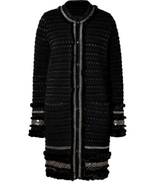 DESIGNER: ROBERTO CAVALLI DETAILS HERE:Knit Coat with Mink Trim in Black/Canna Fucile