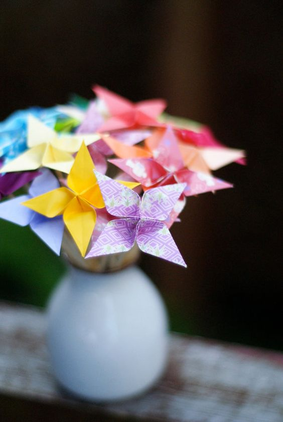 origami flowers in a vase