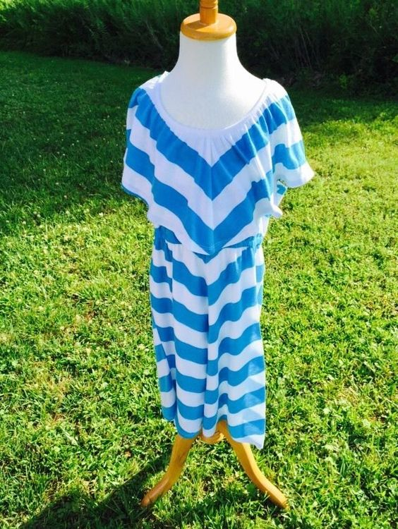 Sundress Aqua Blue White Striped Dress Size 14 by Mymichelle My Michelle | eBay