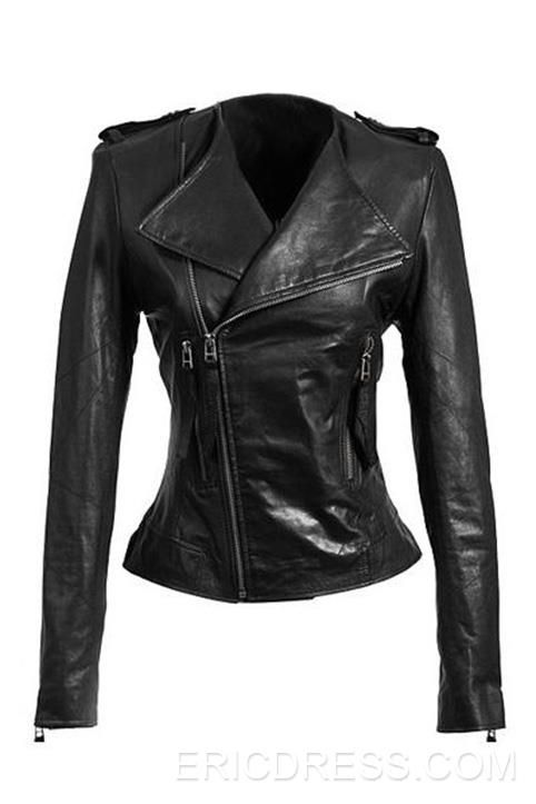 Chic Pure Color Zip Decorated Cuff Black Jackets $47.39 Market Price:USD $ 159.00..just got another..lol..
