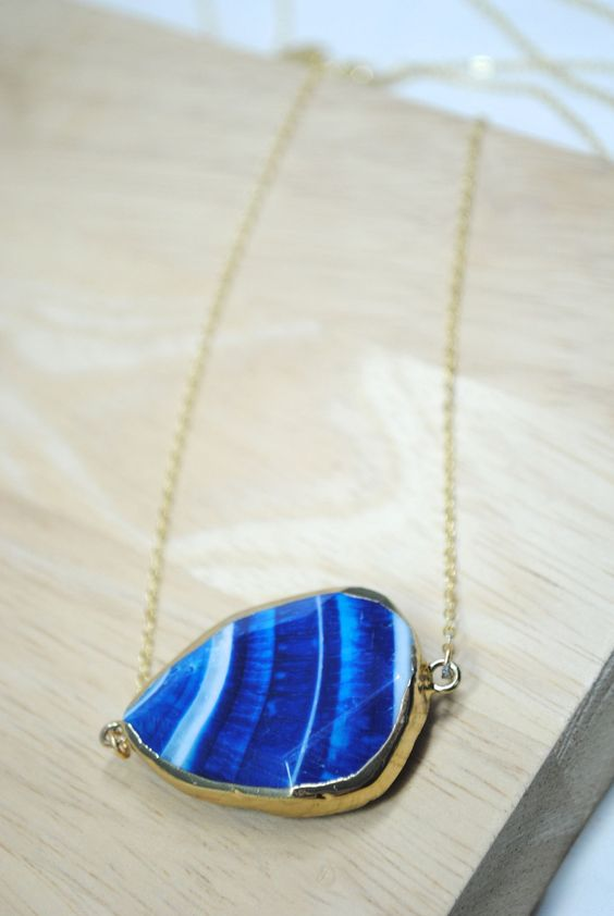 Blue Striped Faceted Slice Agate Necklace