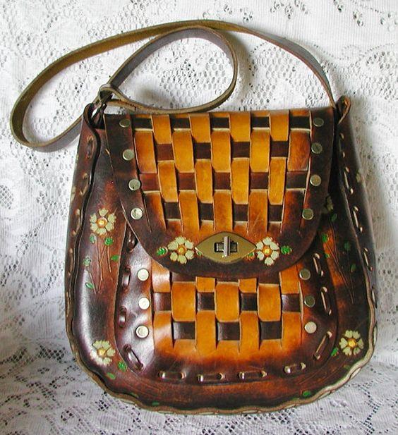 Fabulous 1970s Vintage Boho Hippie Hand Tooled Leather Purse