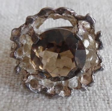 Vintage Brutalist Smokey Quartz Sterling Ring Signed FROM