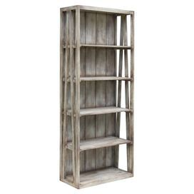 Five-shelf teak wood bookcase with a vintaged finish.  Product: BookcaseConstruction Material: Teak woodColor: Vintage greyDimensions: 78 H x 32 W x 14 DCleaning and Care: Remove dust with a soft, lint free cloth