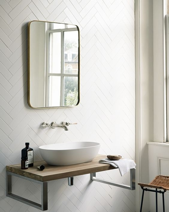 Fired Earth - herringbone on the walls, why not? Loved by #dabinteriors: