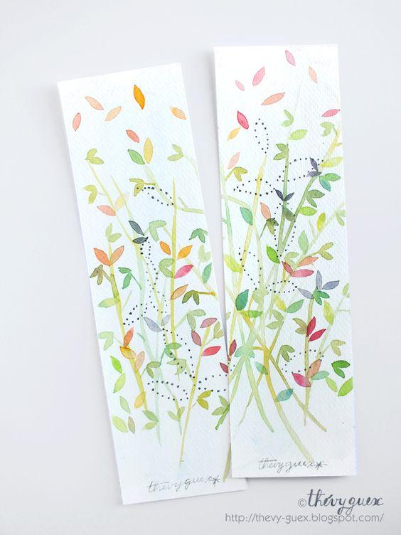 Marque pages peinture aquarelle originale vert pastel feuille feuillage ensemble de 2 marque for Peinture vert pastel
