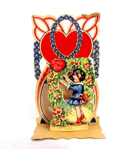 Antique German Standing Valentines Day card R – German Valentines Day Cards