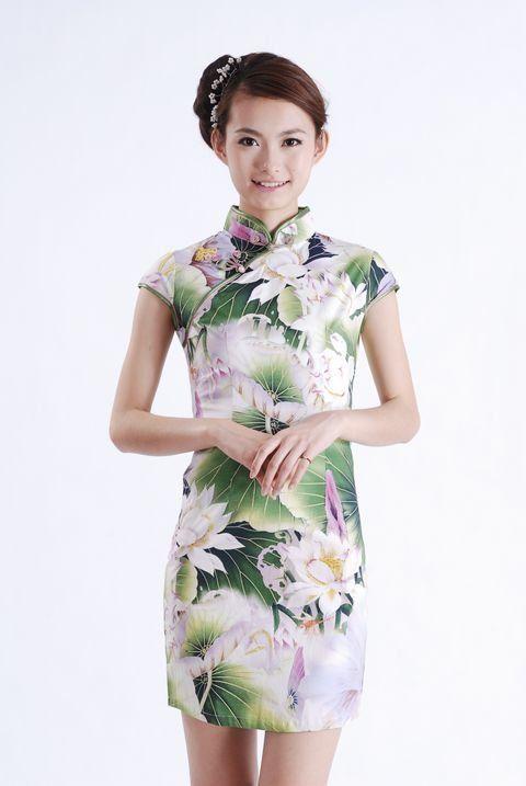 pas cher vert femmes mini qipao cheongsam robe de soir e robe traditionnelle chinoise taille s m. Black Bedroom Furniture Sets. Home Design Ideas
