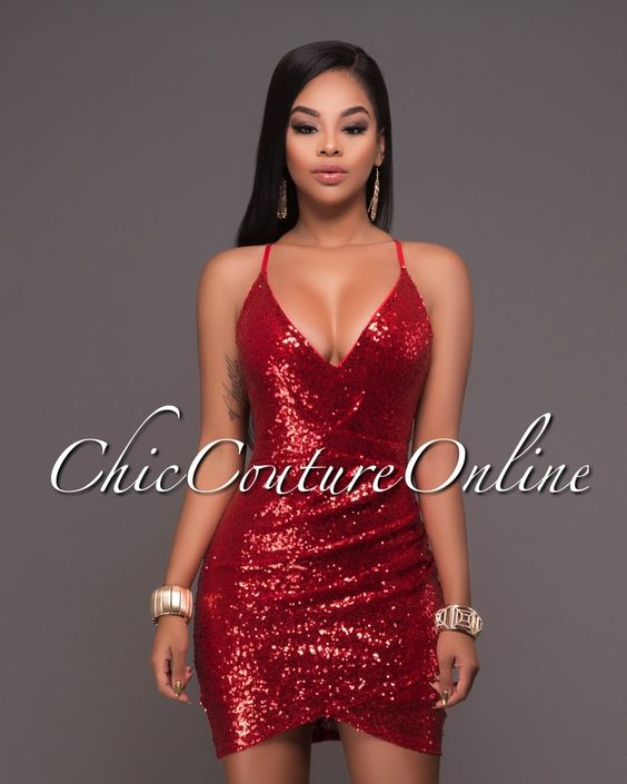 Chic Couture Online - Brookstone Red Sequins Mini Dress.(http ...