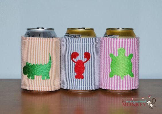 Seersucker Embroidered Critter Koozie by TheMonogrammedMonkey, $10.00