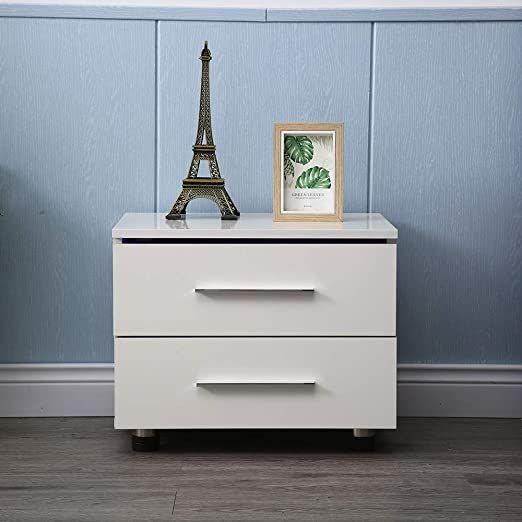 Modern LED Nightstand High Gloss 2 Drawers Bedside Table with Remote White