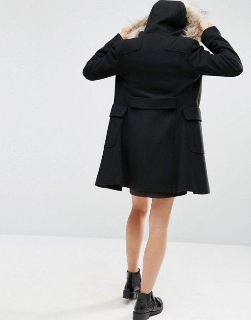ASOS | ASOS – Dufflecoat aus Wollmischung mit Kapuze aus Kunstpelz
