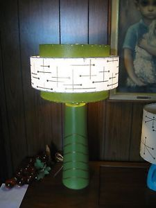 """Mid Century Vintage Style 3 Tier Fiberglass Lamp Shade Modern Atomic Retro GW3   15"""" diam x 10"""" tall for 8"""" harp.  $86 w/shipping. Maybe paint old floor lamp green to match shade."""