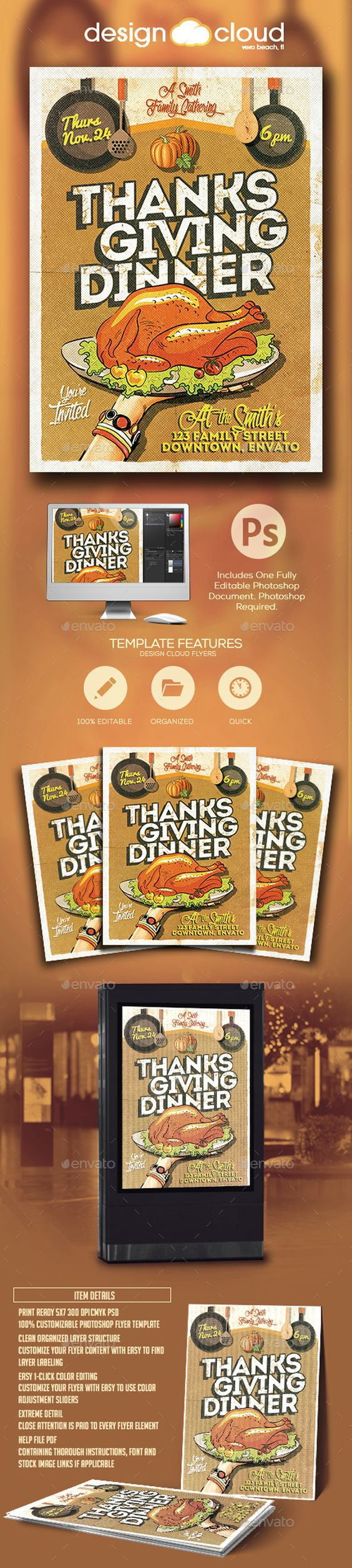 thanksgiving dinner invitation flyer template flyer template thanksgiving dinner invitation flyer template photoshop psd quality retro ➝