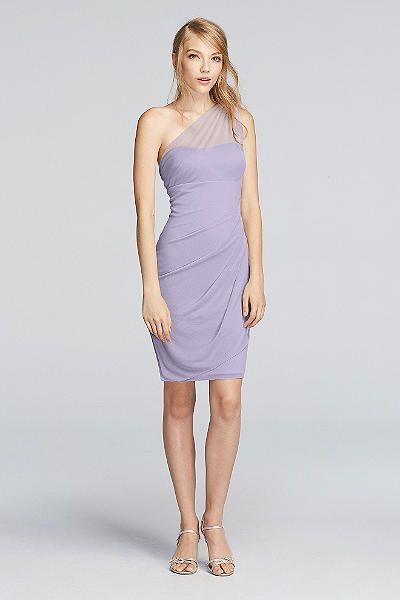 $99.95 (more colors) - Davis Bridal Short Illusion One Shoulder ...