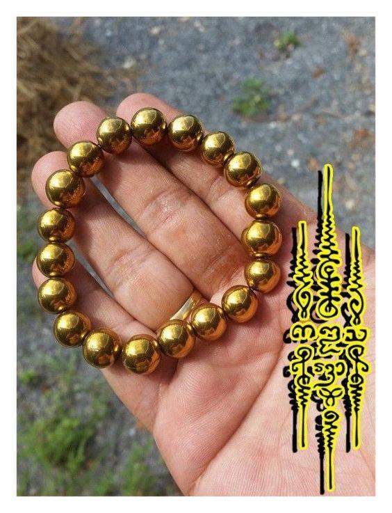 Bracelet Leklai Khaow Thai Amulet LP SOMPORN Lucky Protect Wealth Rare Bead
