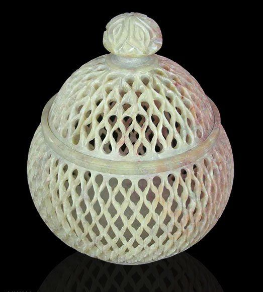 """Lattice Lace : Handcrafted Jali Soapstone Beige Jar and Bottle  (Large)  Finely carved in jali or openwork, latticework creates lacy patterns. An exquisite jar crafted with lid in soapstone's natural colors. A flower crowns the box.  Product Code : TL-103  Size :6"""" H x 5"""" Diam.  Weight: .9 lbs"""