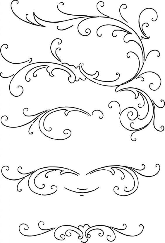 Calligraphy clip art ornaments decorative free