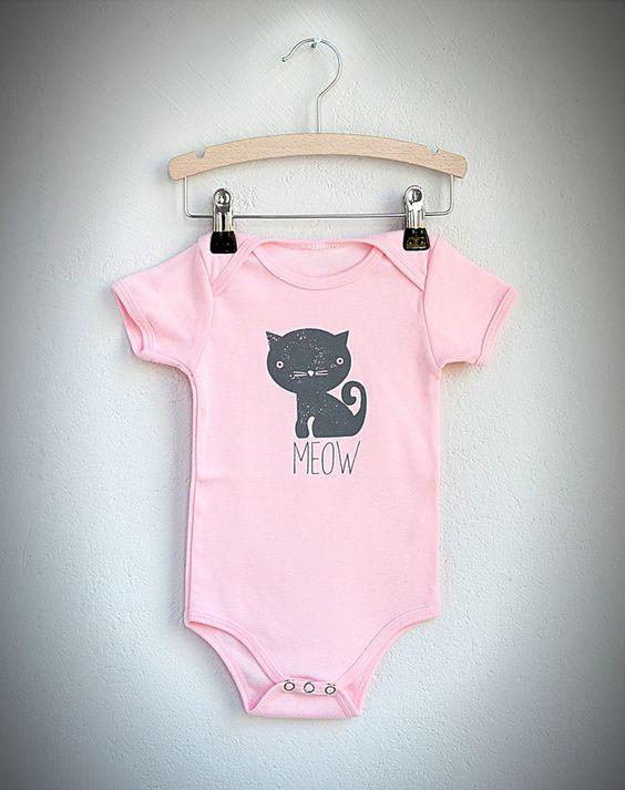 Baby Strampler Body Katze - rosa