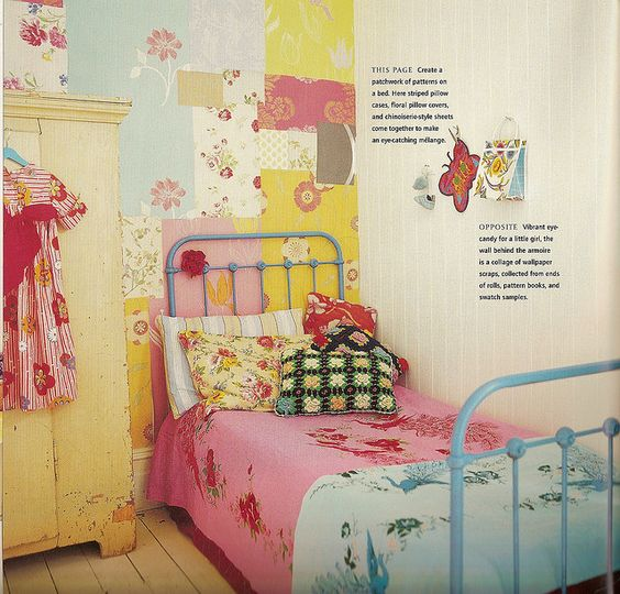 Love the scrapbook paper and painted brass bed.  Would love to do this for my daughter's room.
