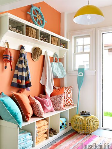 Strong colors and a nautical theme keep this mudroom from looking like all the others! | housebeautiful.com Design by Mona Ross: Entry Way, Beach House, Mudroom, Wall Color, Mud Room, House Idea, Orange Wall, Entryway, Laundry Room