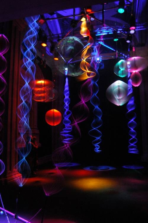 The light sculptures are suspended from 8 metres up; Light Sculpture by Paul Friedlander