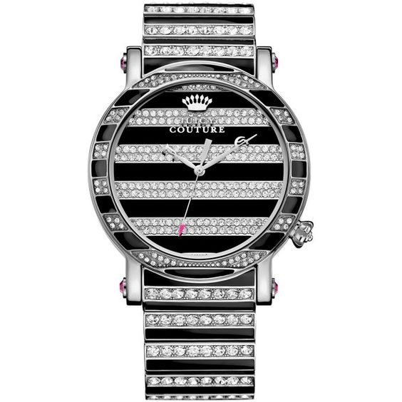 """""""Juicy Couture Women's Queen Couture Crystal Accent and Black Enamel Stainless Steel Bracelet Watch 42mm 1901210"""" found on Polyvore"""