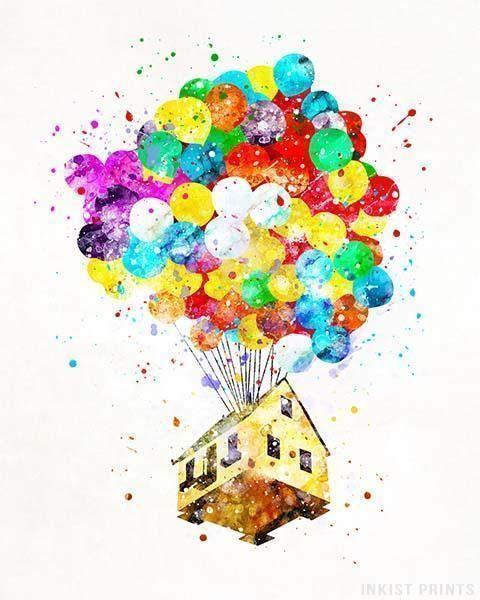 Balloon House Up Print Watercolor Disney Disney Drawings