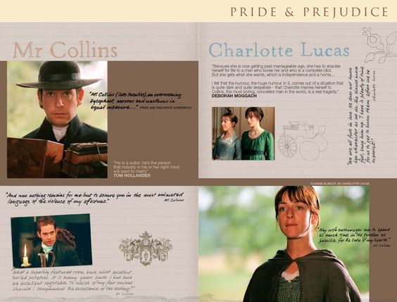 Pride and Prejudice 2005  - online companion - Mr. Collins - Charlotte Lucas - Charlotte Collins - Tom Hollander - Claudie Blakley -  Page 18