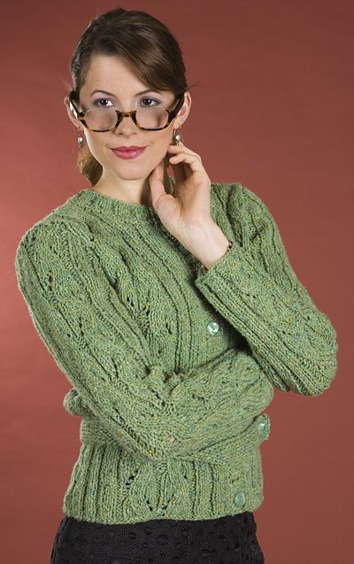 Stunning wavy lace cardigan knitting pattern provided for free by Unicorn Boo...
