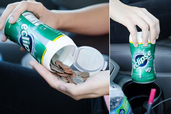 Well, that's fairly ingenious! Keep spare change in an old gum container! I always need a quarter for the cart at Aldi, and occasionally need change for tolls.