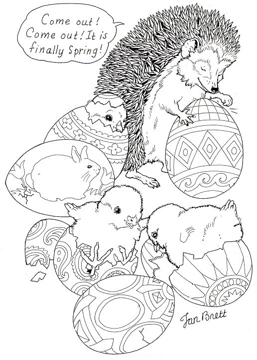 """Hedgie's Easter Eggs"" Spring coloring page courtesy of Jan Brett - a children's book illustrator! Her page has a whole collection of coloring pages.:"